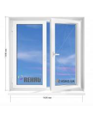Окно REHAU в 9-ти, 12-ти-этажка Полька. МП (ПВХ) 1420мм х 1450мм