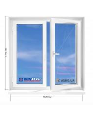 Окно WINTECH в 9-ти, 12-ти-этажка Полька. МП (ПВХ) 1420мм х 1450мм