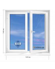 Окно VEKA в 9-ти, 12-ти-этажка Полька. МП (ПВХ) 1420мм х 1450мм