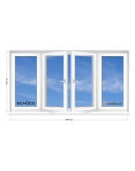 Окно SCHUCO в 9-ти, 12-ти этажка Чешка. Балконная рама. Косой балкон 2800мм Х 1400мм