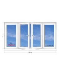 Окно Aluplast в 9-ти, 12-ти этажка Чешка. Балконная рама. Косой балкон 2800мм Х 1400мм