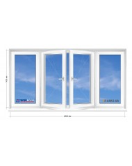 Окно WINTECH в 9-ти, 12-ти этажка Чешка. Балконная рама. Косой балкон 2800мм Х 1400мм