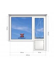Окно WINBAU в 5-этажку Хрущевка. Балконный Блок  2000мм х 2100мм