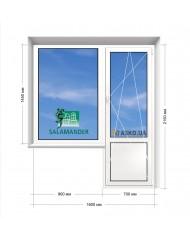 Окно SALAMANDER в 9-ти, 12-ти  этажка Улучшенка. Балконный блок 1600мм х 2150мм
