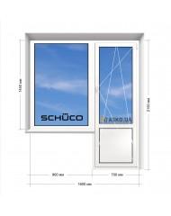 Окно SCHUCO в 9-ти, 12-ти  этажка Улучшенка. Балконный блок 1600мм х 2150мм