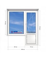 Окно WINTECH в 9-ти, 12-ти  этажка Улучшенка. Балконный блок 1600мм х 2150мм