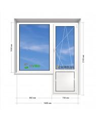 Окно STEKO в 9-ти, 12-ти  этажка Улучшенка. Балконный блок 1600мм х 2150мм
