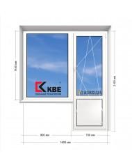 Окно KBE в 9-ти, 12-ти  этажка Улучшенка. Балконный блок 1600мм х 2150мм