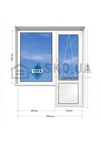 Окно VEKA в 9-ти, 12-ти  этажка Улучшенка. Балконный блок 1600мм х 2150мм в Харькове фото