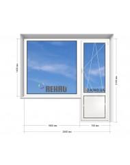 Окно REHAU в 9-ти, 12-ти  этажка Улучшенка. Балконный блок 2500мм х 2150мм