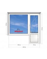 Окно Aluplast в 9-ти, 12-ти  этажка Улучшенка. Балконный блок 2500мм х 2150мм