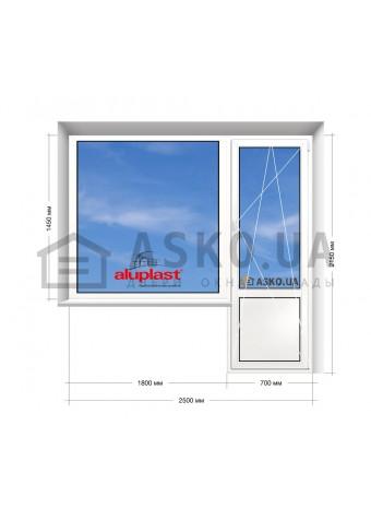 Окно Aluplast в 9-ти, 12-ти  этажка Улучшенка. Балконный блок 2500мм х 2150мм в Харькове фото