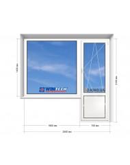 Окно WINTECH в 9-ти, 12-ти  этажка Улучшенка. Балконный блок 2500мм х 2150мм
