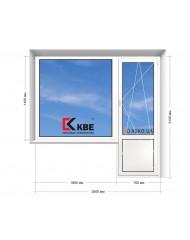 Окно KBE в 9-ти, 12-ти  этажка Улучшенка. Балконный блок 2500мм х 2150мм
