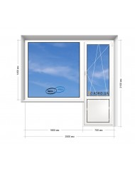 Окно WHS в 9-ти, 12-ти  этажка Улучшенка. Балконный блок 2500мм х 2150мм