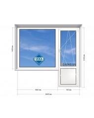 Окно VEKA в 9-ти, 12-ти  этажка Улучшенка. Балконный блок 2500мм х 2150мм
