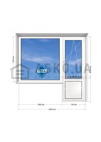 Окно VEKA в 9-ти, 12-ти  этажка Улучшенка. Балконный блок 2500мм х 2150мм в Харькове фото