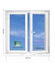 Окно SALAMANDER в 9-ти, 12-ти  этажка улучшенка. МП (ПВХ) 1450мм х 1450мм