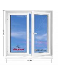 Окно Aluplast в 9-ти, 12-ти  этажка улучшенка. МП (ПВХ) 1450мм х 1450мм