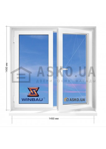 Окно WINBAU в 9-ти, 12-ти  этажка улучшенка. МП (ПВХ) 1450мм х 1450мм в Харькове фото
