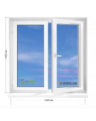 Окно STEKO в 9-ти, 12-ти  этажка улучшенка. МП (ПВХ) 1450мм х 1450мм