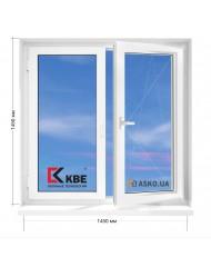 Окно KBE в 9-ти, 12-ти  этажка улучшенка. МП (ПВХ) 1450мм х 1450мм