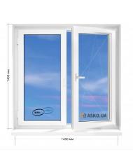 Окно WHS в 9-ти, 12-ти  этажка улучшенка. МП (ПВХ) 1450мм х 1450мм
