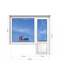 Окно KBE в 5-этажку Хрущевка. Балконный Блок  2000мм х 2100мм