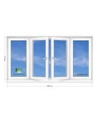 Окно SALAMANDER в 9-ти, 12-ти этажка Чешка.  Балконная рама. Прямой балкон 3000мм Х 1400мм