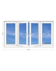Окно STEKO в 9-ти, 12-ти этажка Чешка.  Балконная рама. Прямой балкон 3000мм Х 1400мм