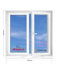 Окно Aluplast в 5-этажку Хрущевка. МП(ПВХ) 1100мм х 1400мм