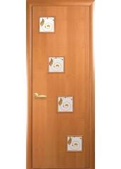 Межкомнатная дверь Квадра Ронда со стеклом сатин и рисунком Ольха