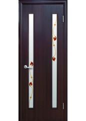 Межкомнатная дверь Квадра Вера со стеклом сатин и рисунком венге DeWild