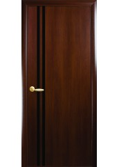 Межкомнатная дверь Квадра Вита с черным стеклом Орех