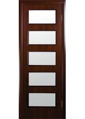Межкомнатная дверь Квадра Ева со стеклом сатин Орех