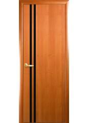Межкомнатная дверь Квадра Вита с черным стеклом Ольха