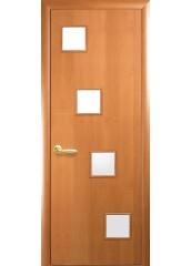 Межкомнатная дверь Квадра Ронда со стеклом сатин Ольха