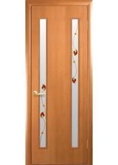 Межкомнатная дверь Квадра Вера со стеклом сатин и рисунком Ольха