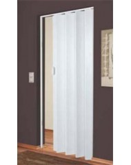 Дверь-гармошка Plaza 88x203 белое дерево (рисунок дерева серого тона)